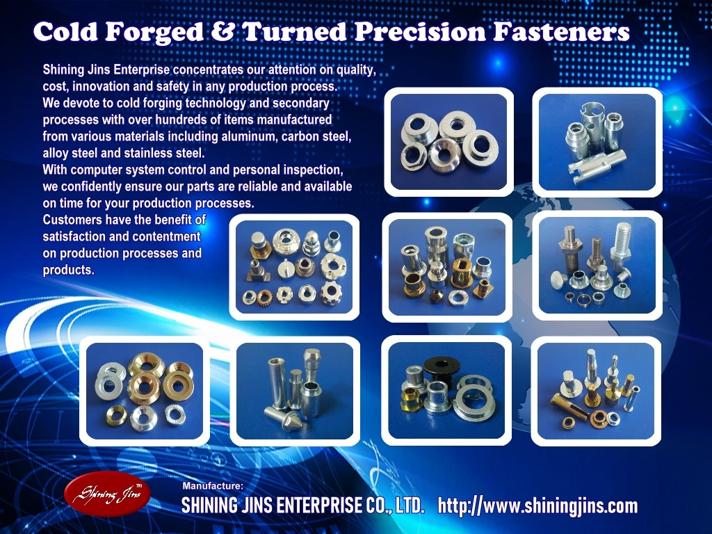 Custom fasteners and rivets - Cold Forged precision metal parts made in Taiwan